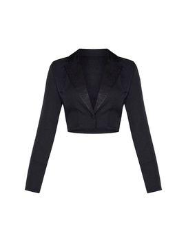 Black Shoulder Pad Crop Shirt by Prettylittlething