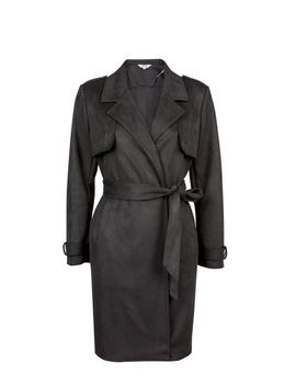 Petite Black Long Lined Suedette Coat by Dorothy Perkins
