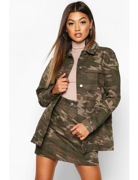 Washed Camo Denim Jacket by Boohoo