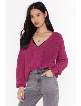 Ready Waiting And Cable Knitted V Neck Jumper by Nasty Gal