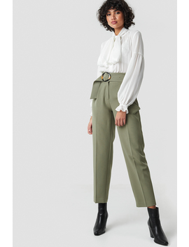 Asymmetric Belted Suit Pants Grün by Nakdclassic