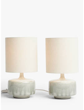 John Lewis & Partners Glazed Ceramic Table Lamps, Set Of 2, Green by John Lewis & Partners