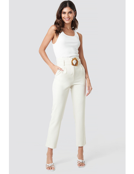 High Waist Asymmetric Belted Pants Weiß by Nakdclassic