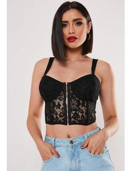 Black Lace Seamed Corset Bralet by Missguided