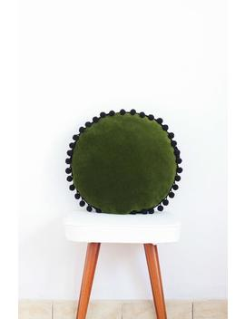 Forest Green Velvet Round Soft Pillow Decorative Circle Cushion Boho Pillow With Pom Poms Colours by Etsy