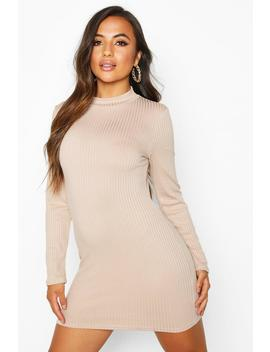 Petite Jumbo Rib High Neck Bodycon Dress by Boohoo