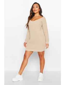 Petite V Neck Jumper Mini Dress by Boohoo