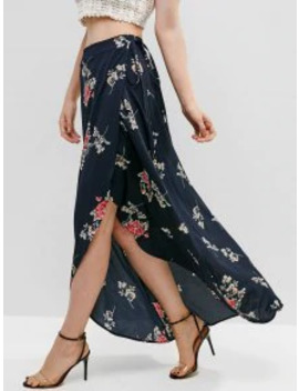 Zaful Floral Asymmetrical Wrap Maxi Skirt   Midnight Blue S by Zaful