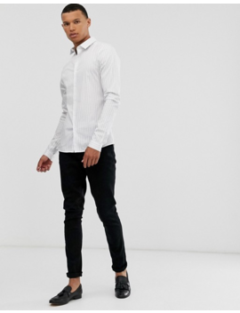 Asos Design Tall   Chemise Style Worker à Rayures Coupe Ajustée   Blanc Et Marine by Asos Design