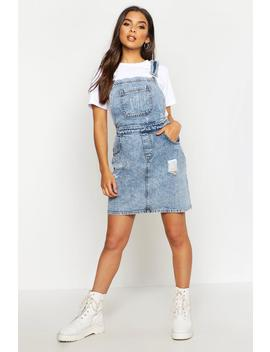 Acid Wash Distressed Denim Pinafore Dress by Boohoo