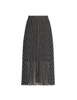Black Polka Dot Print Button Midi Skirt by Dorothy Perkins