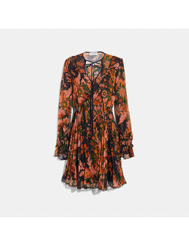 Forest Floral Print Pleated Dress With Necktie by Coach