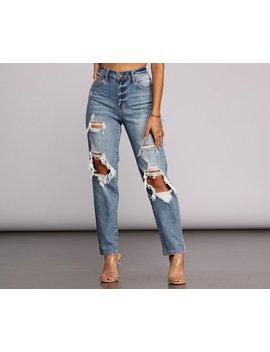 Super High Waist Destructed Mom Jeans by Windsor