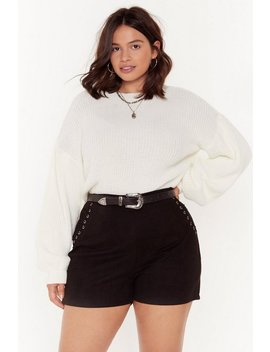 Lace Up Detail Suede Shorts by Nasty Gal