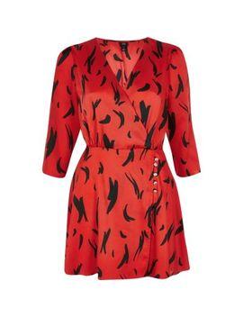 Petite Red Print Long Sleeve Wrap Mini Dress by River Island