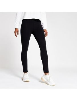 Petite Black Jersey Panelled Leggings by River Island