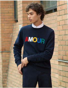 Slogan Sweatshirt In Unbrushed Fleece by Sandro Paris