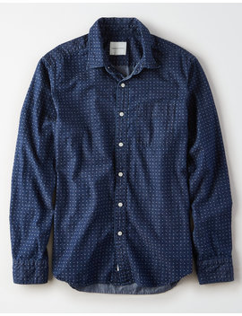 Ae Denim Dot Button Up Shirt by American Eagle Outfitters
