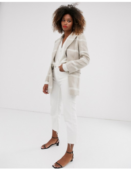 & Other Stories Check Jacket In Light Beige And Off White by & Other Stories