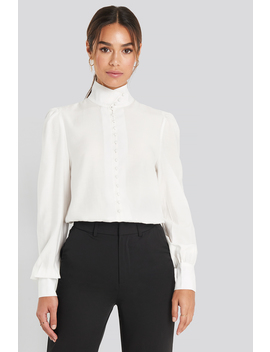 High Neck Button Blouse Blanc by Chloe B X Na Kd