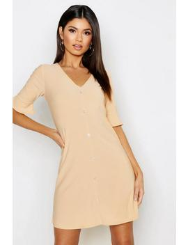 Button Detail Frill Sleeve Shift Dress by Boohoo