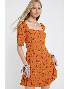 Uo Ally Rust Floral Button Through Mini Dress by Urban Outfitters