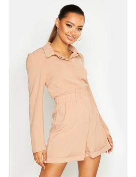 Ruched Waist Shirt Romper by Boohoo