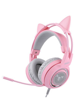 Somic G951s Pink Gaming Headset With Mic Girls Women Cat Ear Headphone For Xbox by Somic