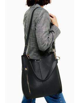Hugo Black Zip Hobo Bag by Topshop