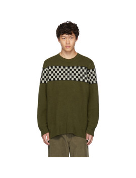 Green Checkered Striped Crewneck Sweater by The Elder Statesman