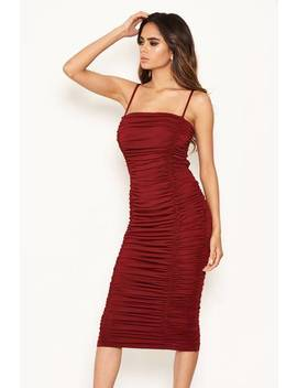 Plum Ruched Strappy Bodycon Midi Dress by Ax Paris