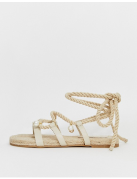 Asos Design Wide Fit Vancouver Embellished Tie Leg Espadrille Sandals by Asos Design