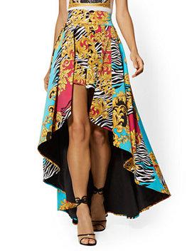 Mixed Print Short & Overlay Skirt   7th Avenue by New York & Company