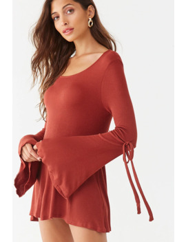 Ribbed Trumpet Sleeve Dress by Forever 21