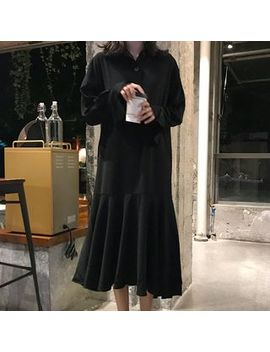 Jn Honor   Long Sleeve Asymmetric Frill Trim Buttoned Midi Dress by Jn Honor