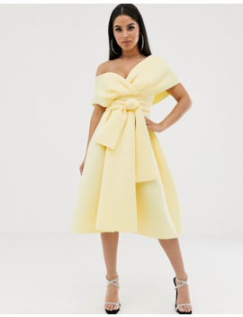 Asos Design Petite Fallen Shoulder Prom Dress With Tie Detail by Asos Design