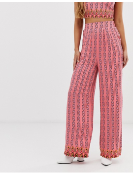 Glamorous Wide Leg Printed Trousers by Glamorous