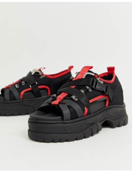 Asos Design Trainer Sandals In Black And Red With Chunky Sole by Asos Design