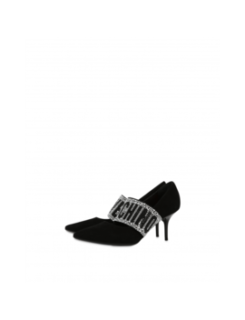 Suede Pumps With Rhinestone Elastic by Moschino