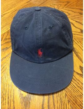 Vtg Polo By Ralph Lauren Navy Red Pony Strapback Cap Hat Baseball Os by Polo Ralph Lauren