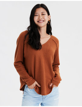 Ae Plush Waffle Long Sweatshirt by American Eagle Outfitters