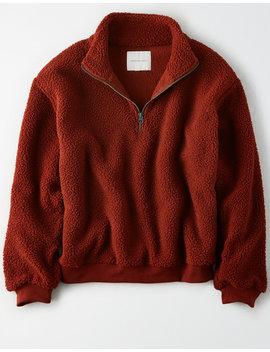 Ae Sherpa Half Zip Sweatshirt by American Eagle Outfitters