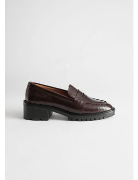 Croc Embossed Block Heel Loafers by & Other Stories
