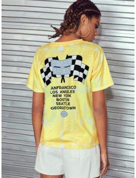 Car &Amp; Letter Print Tie Dye Tee by Romwe