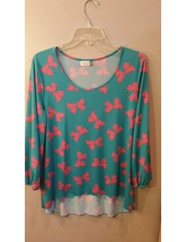 """Jon & Anna New York Teal And Pink """"Bows"""" Blouse Size L by Jon & Anna"""