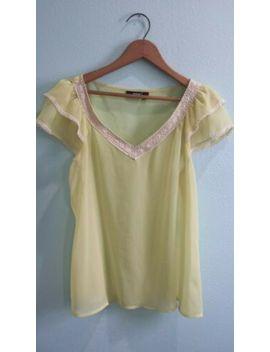 A.N.A. Pastel Green Yellow Lime Blouse Size L by A.N.A