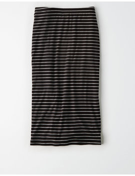 Ae Studio Striped Bodycon Midi Skirt by American Eagle Outfitters