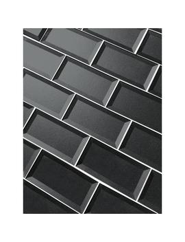 "Subway 3"" X 6"" Handmade Metallic Gray Beveled Glossy Glass Peel & Stick Decorative Bathroom Wall Tile Backsplash (8 Pk) by Abolos"