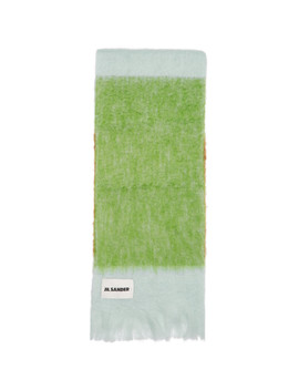 Green Tricolor Scarf by Jil Sander