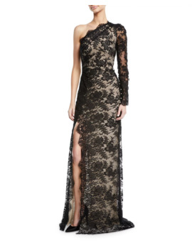 One Shoulder Lace Overlay Gown by Monique Lhuillier
